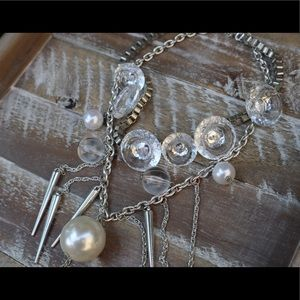 Jewelry - Statement necklace with layered crystals & pearls